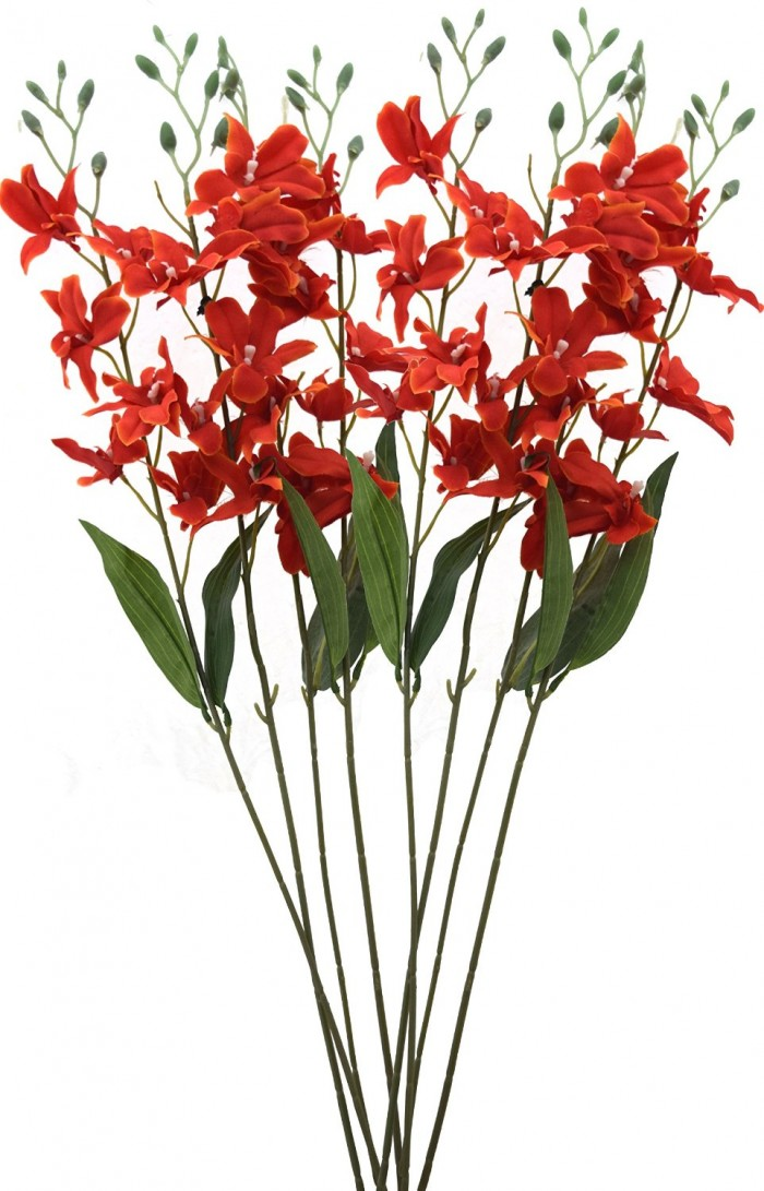 Buy Artificial Fuchsia Orchid Stems(Orange) Online
