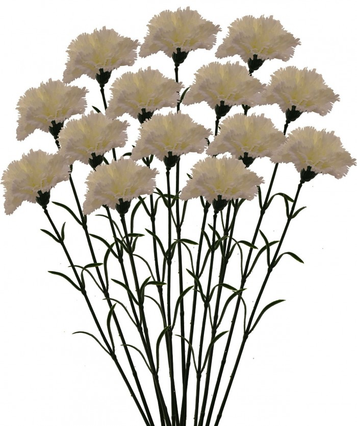 Buy Fourwalls Artificial Synthetic Single Carnation Flower Stick (45 Cm Tall, Set Of 15, White) Onli