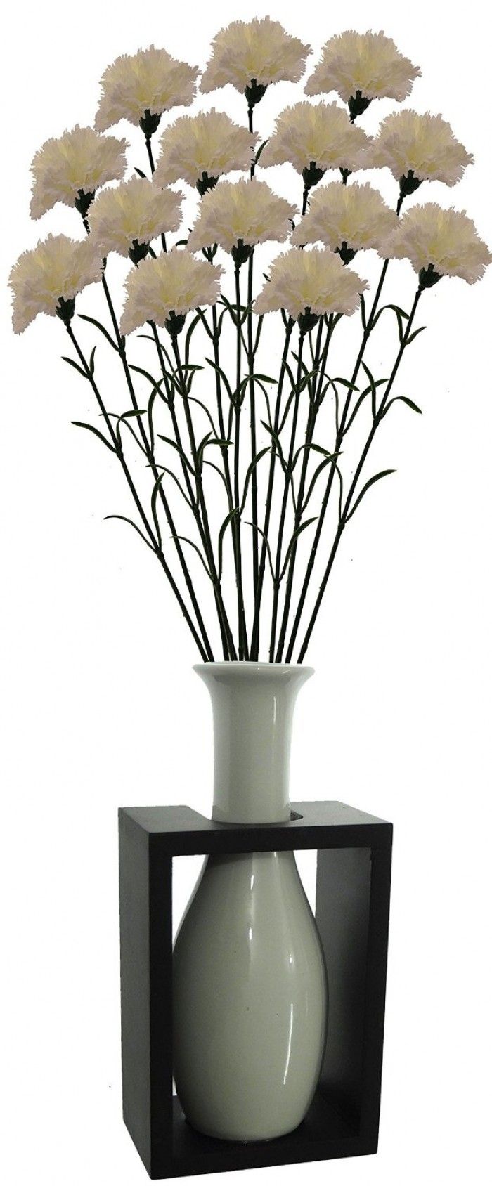 Buy Artificial Single Carnation Stems (Set Of 15, White) Online
