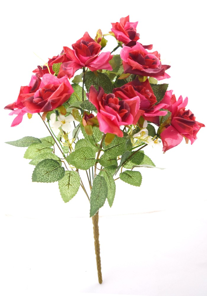 Buy Fourwalls Magnificent Artificial Synthetic Rose Bunch (Dark Pink, 40 Cm Tall) Online