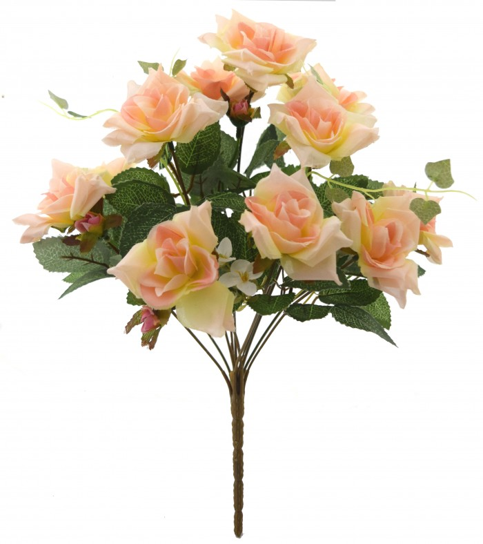 Buy Fourwalls Magnificent Artificial Synthetic Rose Bunch (Peach, 40 Cm Tall) Online