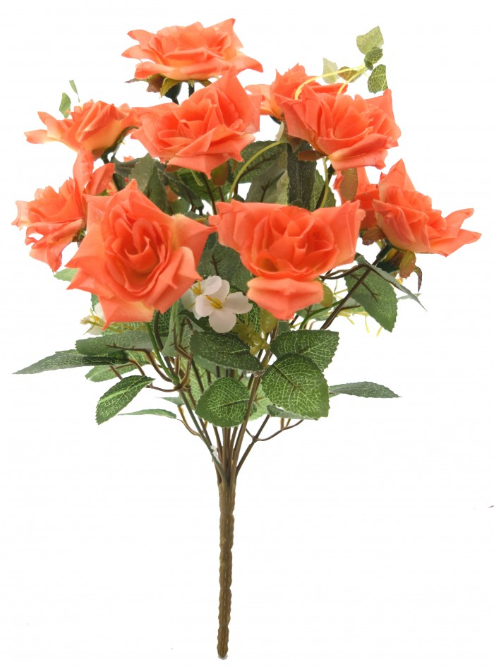 Buy Fourwalls Magnificent Artificial Synthetic Rose Bunch (Orange, 40 Cm Tall) Online