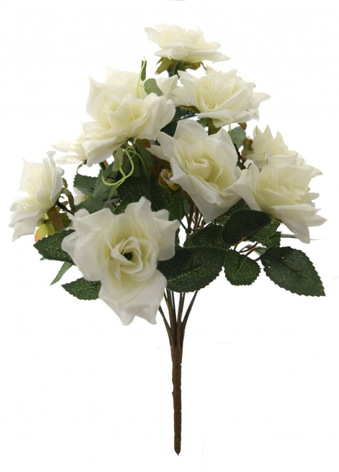 Buy Fourwalls Magnificent Artificial Synthetic Rose Bunch (White, 40 Cm Tall) Online