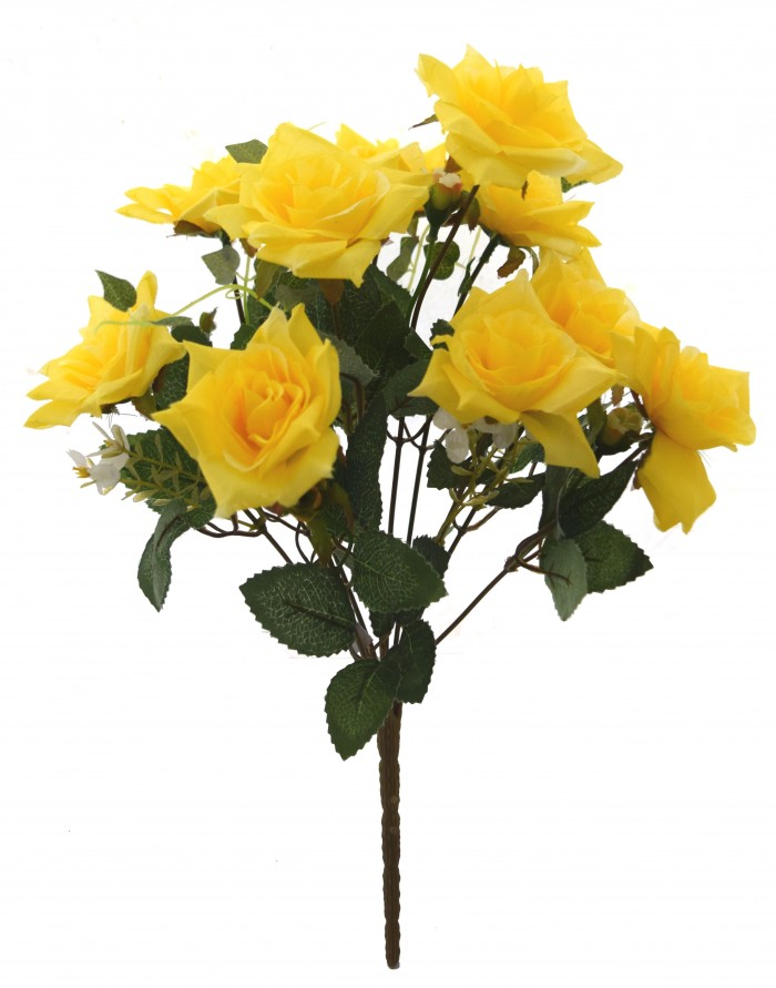 Buy Fourwalls Magnificent Artificial Synthetic Rose Bunch (Yellow, 40 Cm Tall) Online