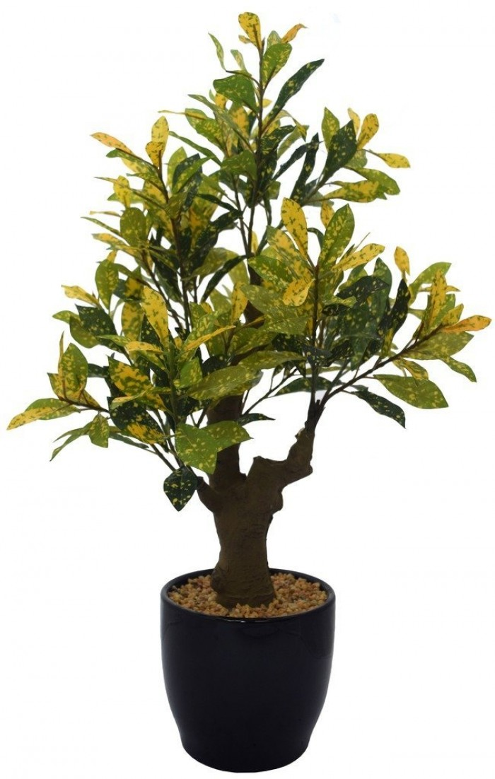 Buy Artificial Croton Plant With Stylish Ceramic Vase (yellow) Online