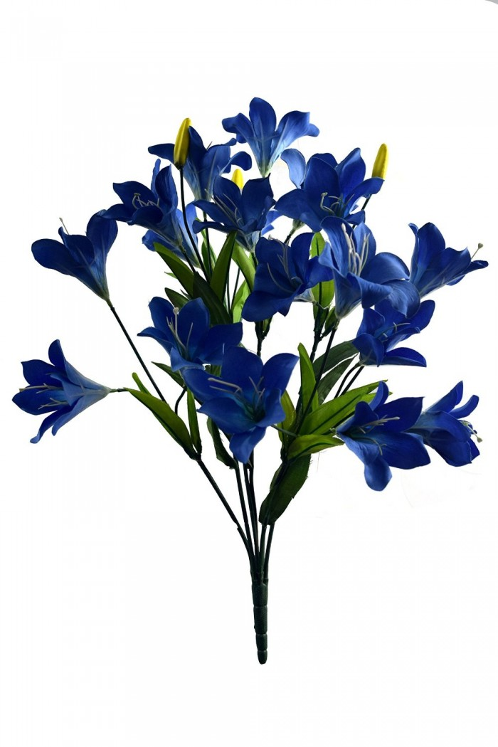 Buy Artificial Decorative Lily Flower Bunches (21 Flower, 60 Cm Tall, Blue) Online