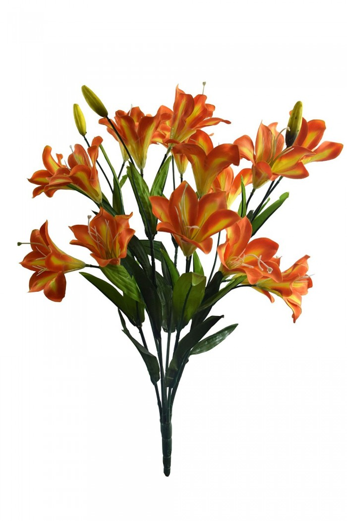 Buy Artificial Decorative Lily Flower Bunches (21 Flower, 60 Cm Tall, Orange) Online