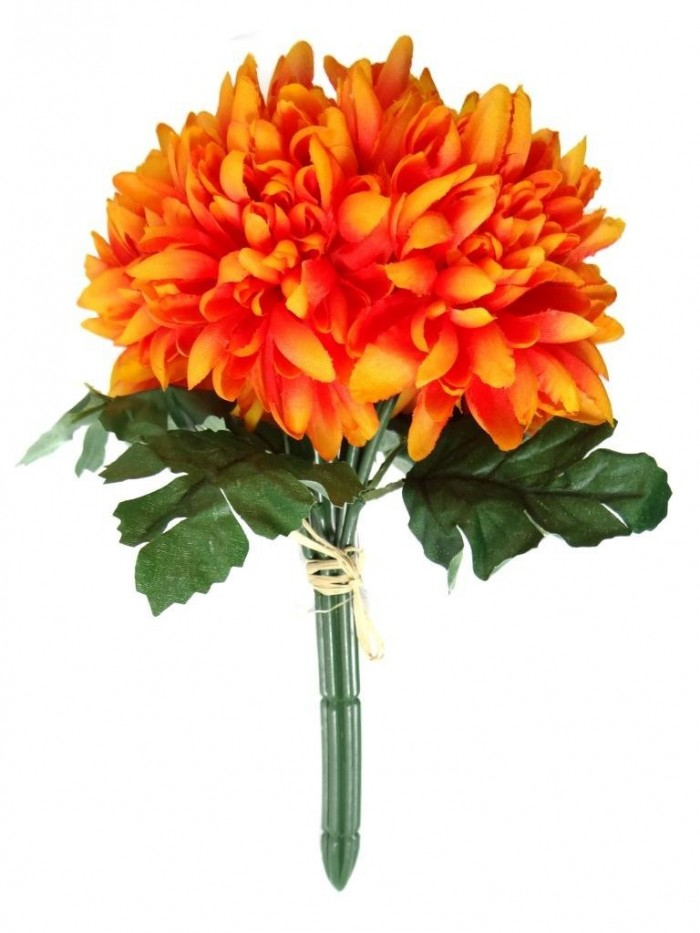 Buy Artificial Chrysanthemum Flower Bunch (orange) Online