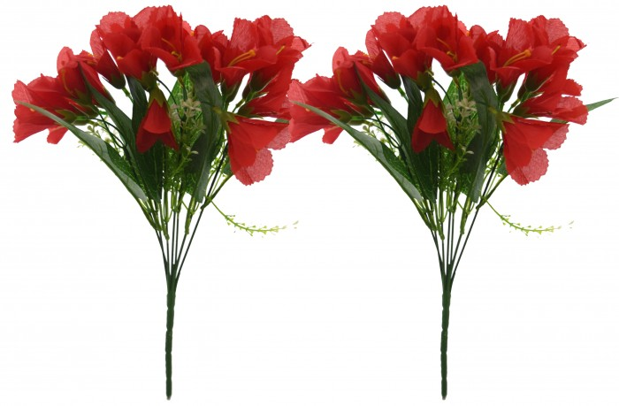 Buy Artificial Mini Lily Bouquet(Set Of 2,Red) Online