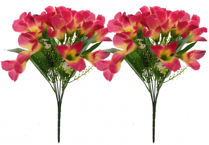 Buy Artificial Mini Lily Bouquet(Set Of 2,Dark Pink) Online