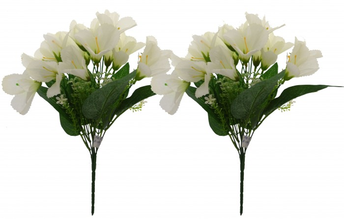 Buy Artificial Mini Lily Bouquet(Set Of 2,White) Online