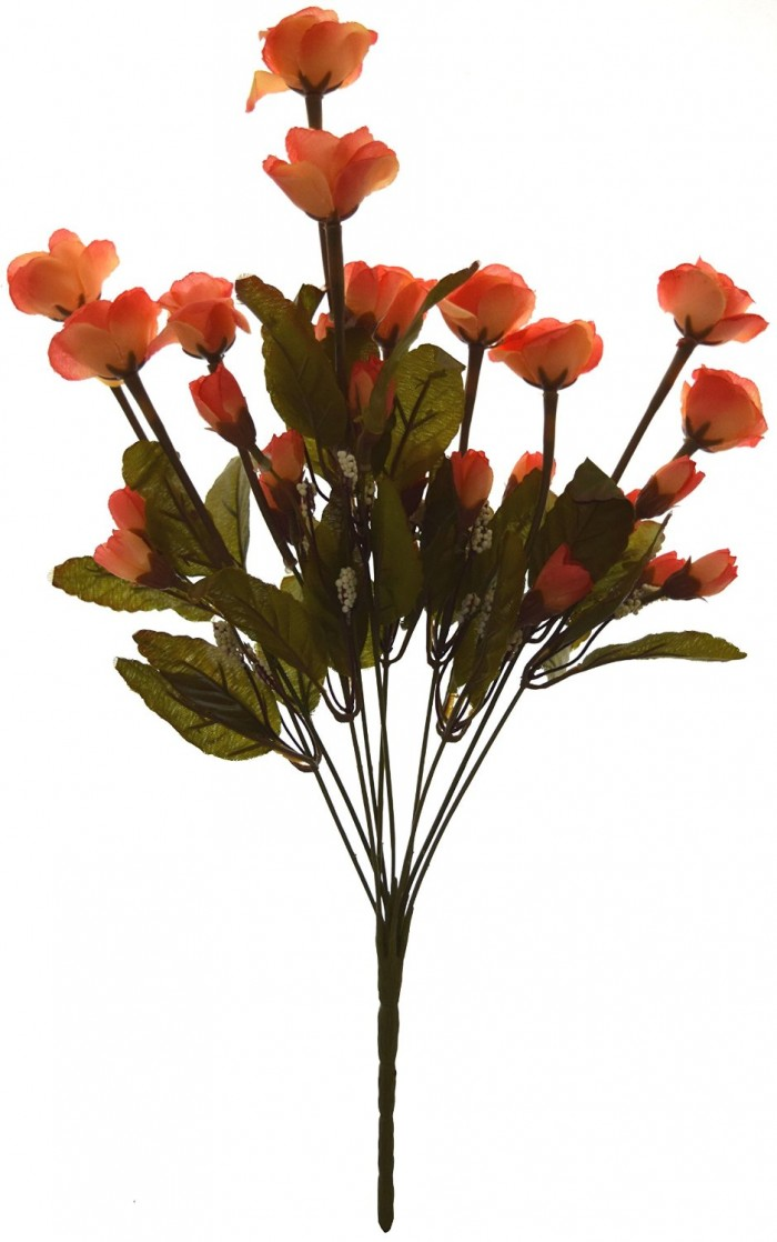 Buy Artificial Mini Rose Bunch (10 Branches With 30 Flowers, Orange) Online