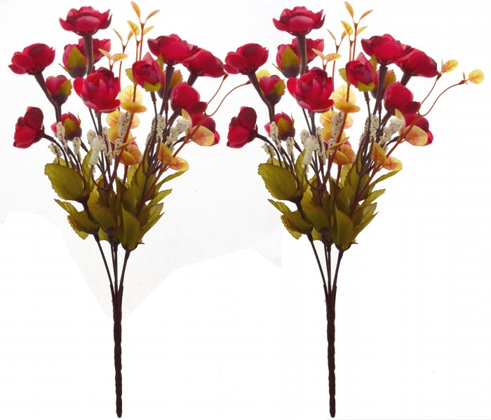 Buy Artificial Rose Flower Bunch (Set Of 2,maroon) Online
