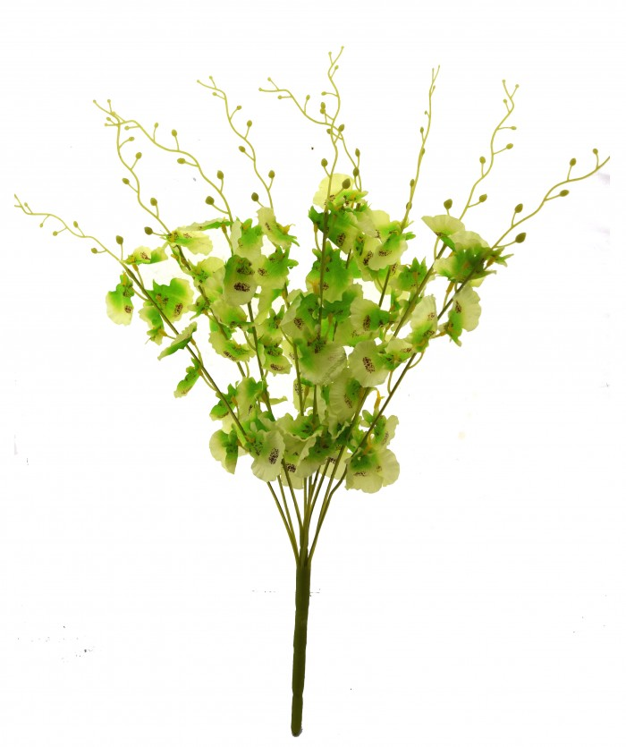 Buy Majestic Artificial Dancing Fabric Orchid Flower Bouquet (56 Cm, Green) Online