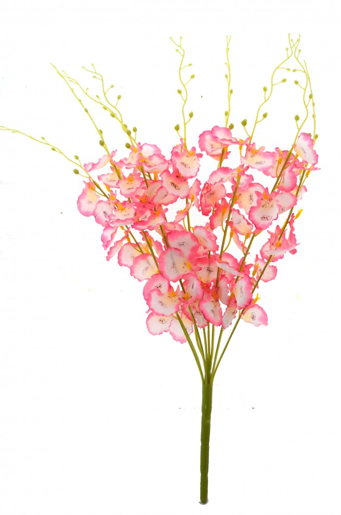 Buy Majestic Artificial Dancing Fabric Orchid Flower Bouquet (56 Cm, Pink) Online
