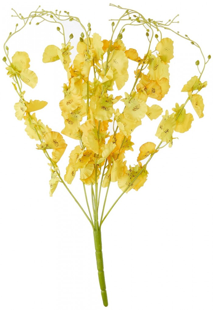 Buy Majestic Artificial Dancing Fabric Orchid Flower Bouquet (56 Cm, Yellow) Online