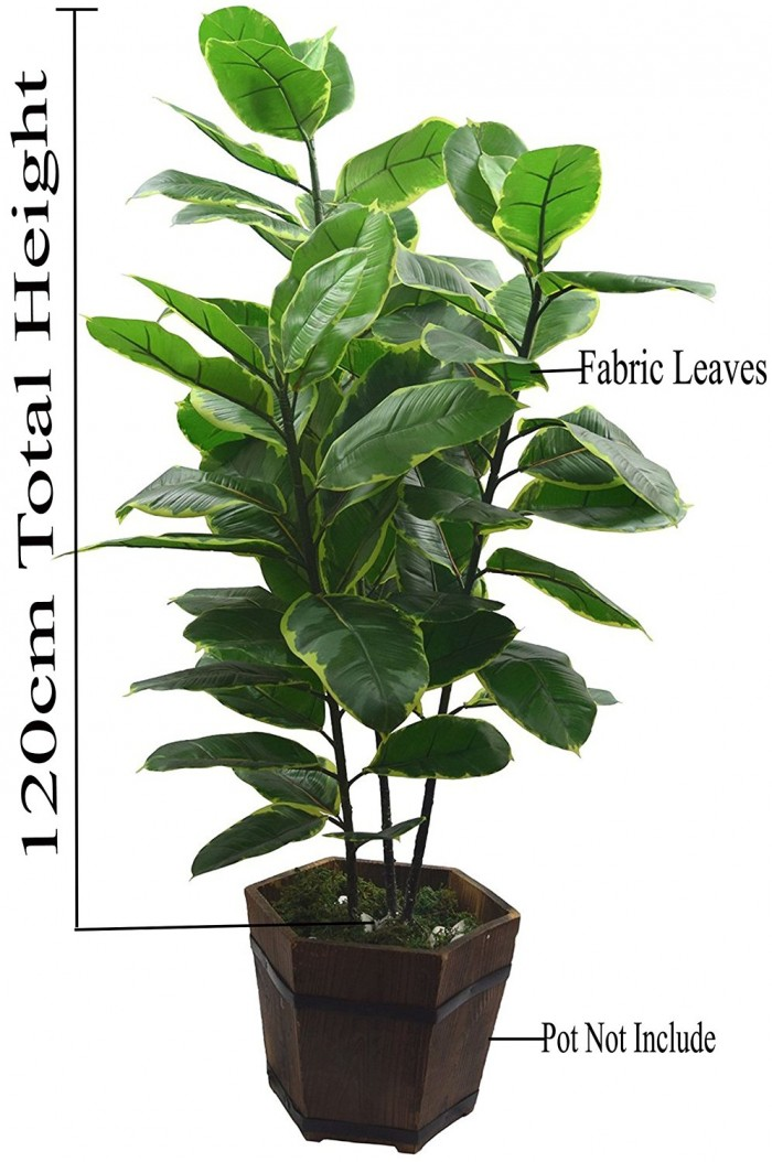 Buy Artificial Rubber Plant (3 Trunks, 120 Cm)(multicolour) Online