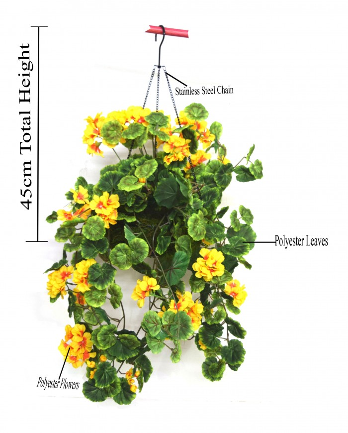 Buy 45 Cm Tall Geranium Hanging Basket Decorative Artificial Plant(yellow) Online