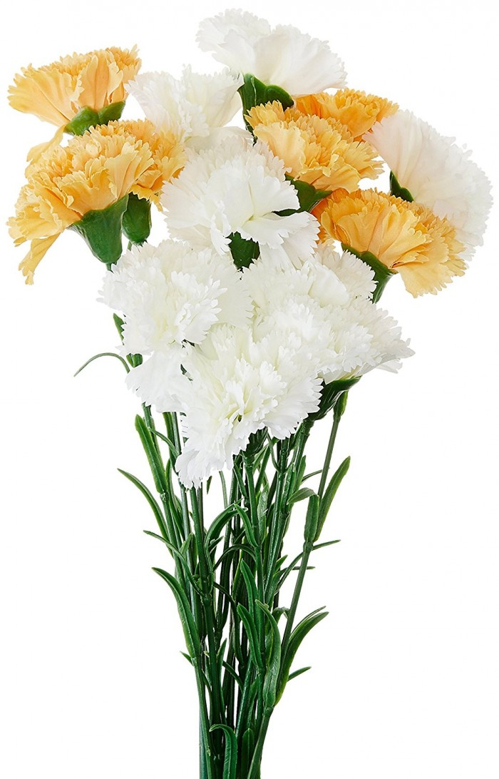 Buy Fourwalls Single Carnation (Set Of 15, Yellow And White) Online
