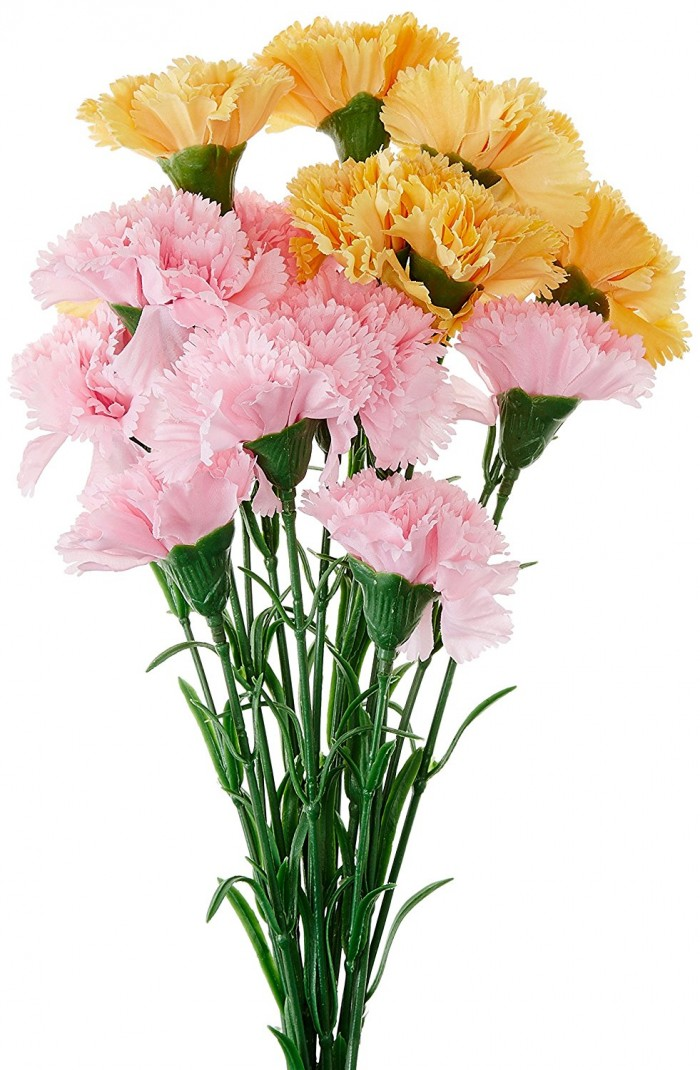 Buy Fourwalls Artificial Synthetic Single Carnation Flower Stick (45 Cm Tall, Set Of 15, Yellow And