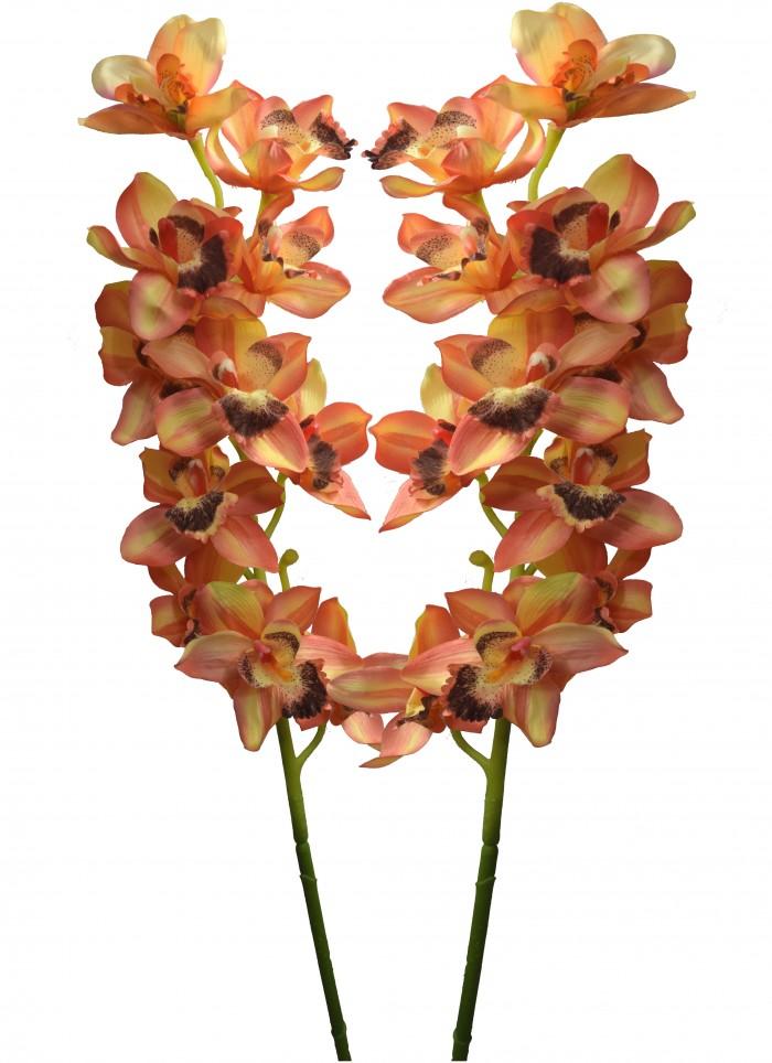Buy Fourwalls Artificial NEW CYMBEDIUM Flower(set 2 Orange) Online