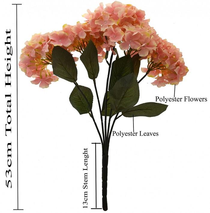 Buy Fourwalls Beautiful Artificial Hydrangea Bunch (Peach) Online