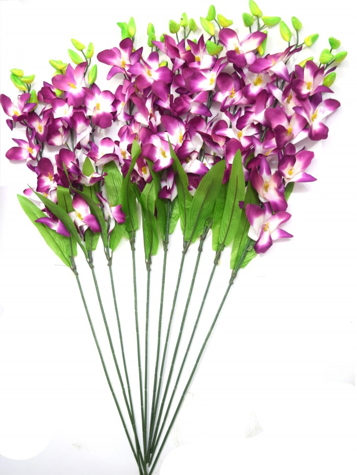 Buy Fourwalls Artificial Polyester SONIA ORCHID Flower Stack (set Of 12 Purple) Online