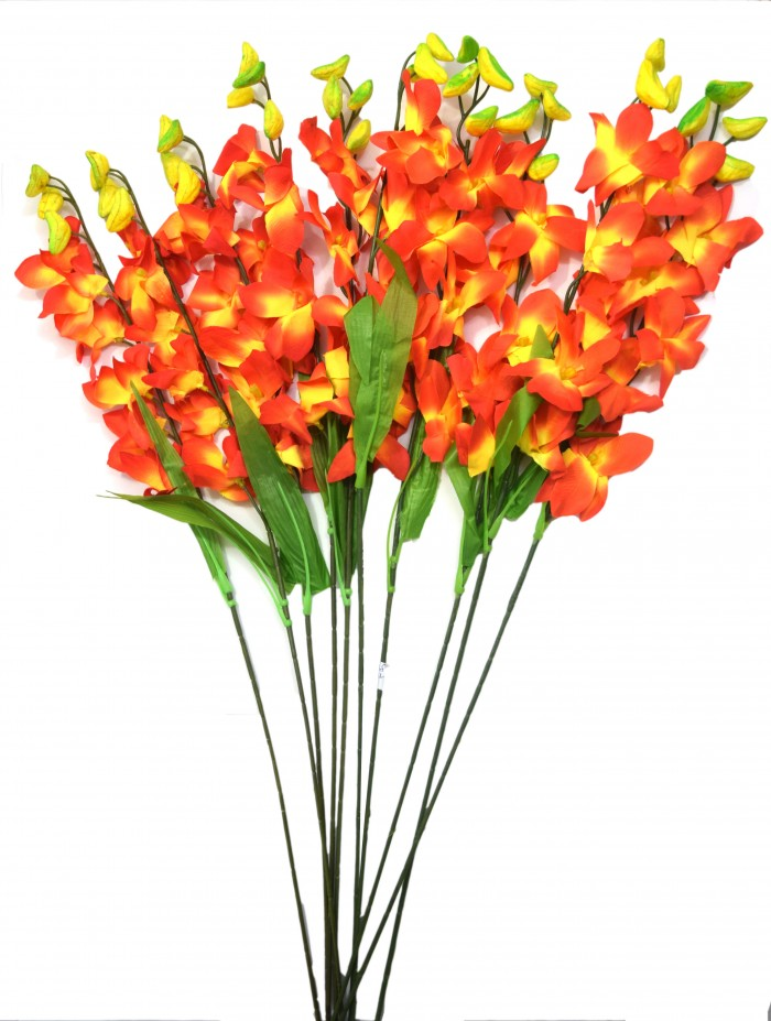 Buy Fourwalls Artificial Polyester SONIA ORCHID Flower Stack (set Of 12 Orange) Online