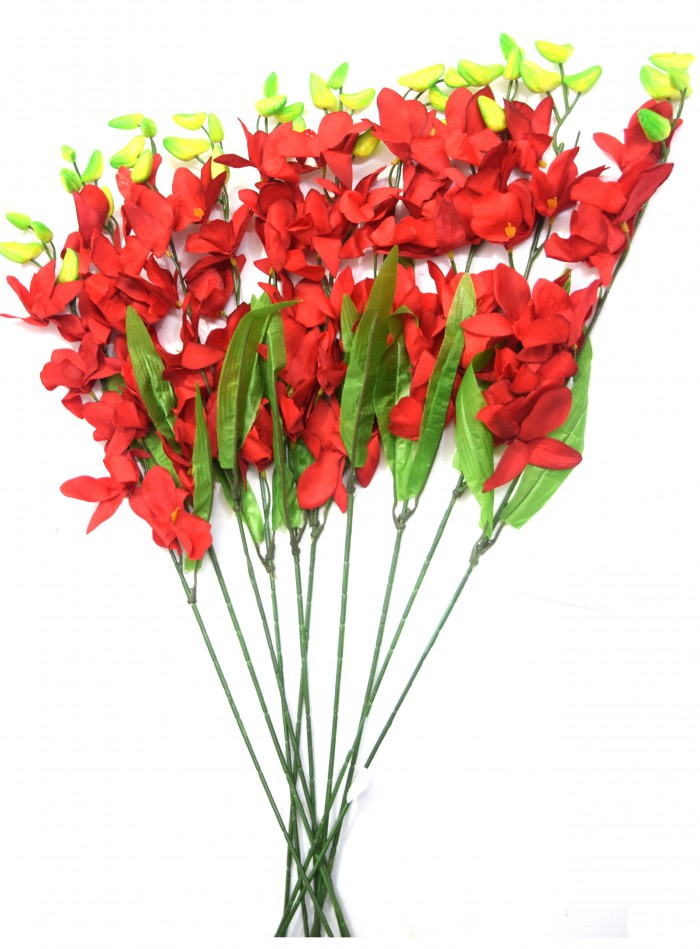 Buy Fourwalls Artificial Polyester SONIA ORCHID Flower Stack (set Of 12 Red) Online