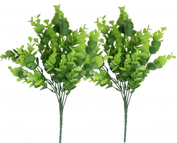 Buy Artificial Green Garden Plastic Bushes (34 Cm L/Green Set-2) Online