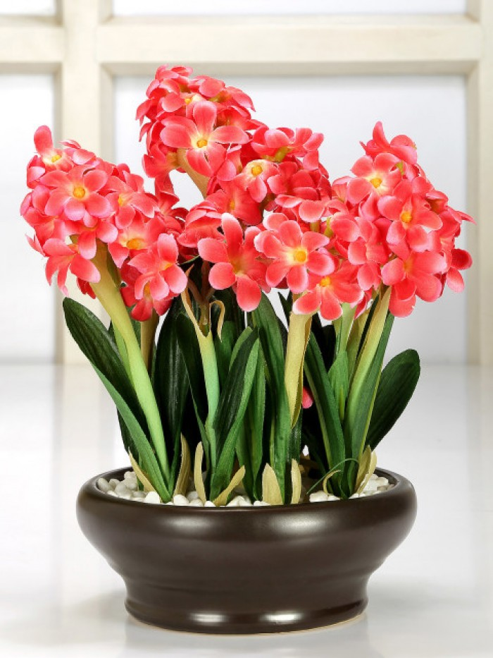 Buy Artificial Hyacinth Bonsai Plant With Pot (26 Cm ) Online