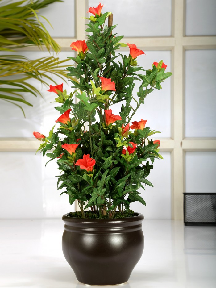 artificial  morning glory bonces plant wath pot (63 cm ) d/pink  orange