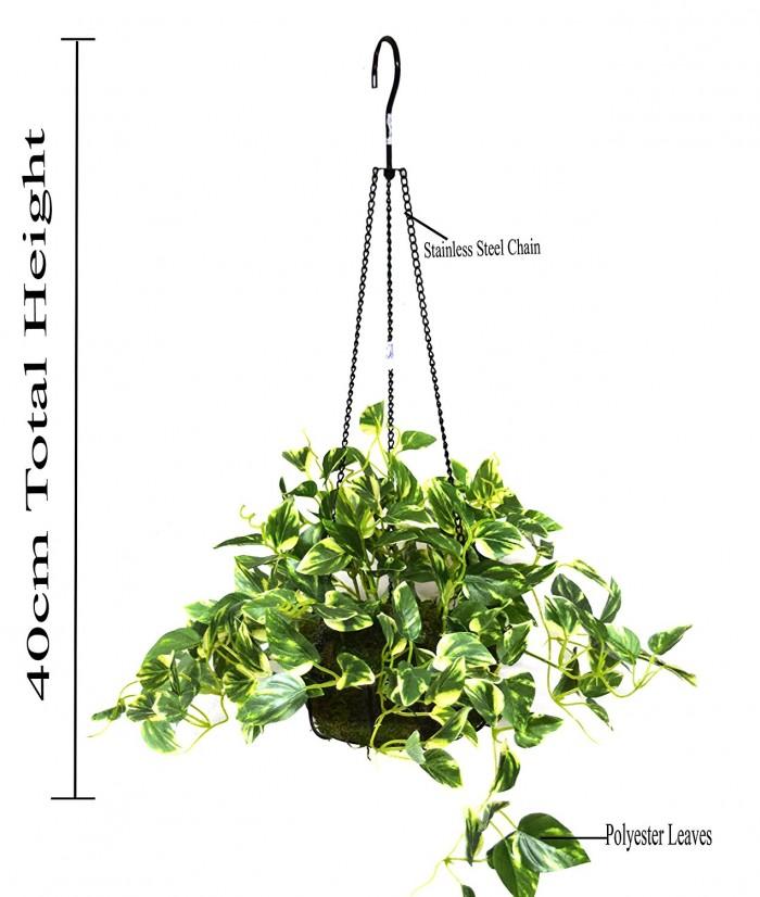 Buy 40 Cm Tall Pothos Hanging Basket Decorative Artificial Plant Online
