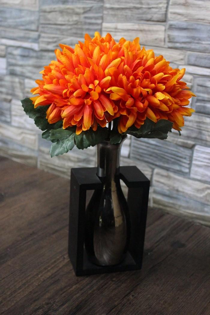 Buy Fourwalls 27 Cm Tall Synthetic Chrysanthemum Flower Bunch (10 Flowers, (orange) Online
