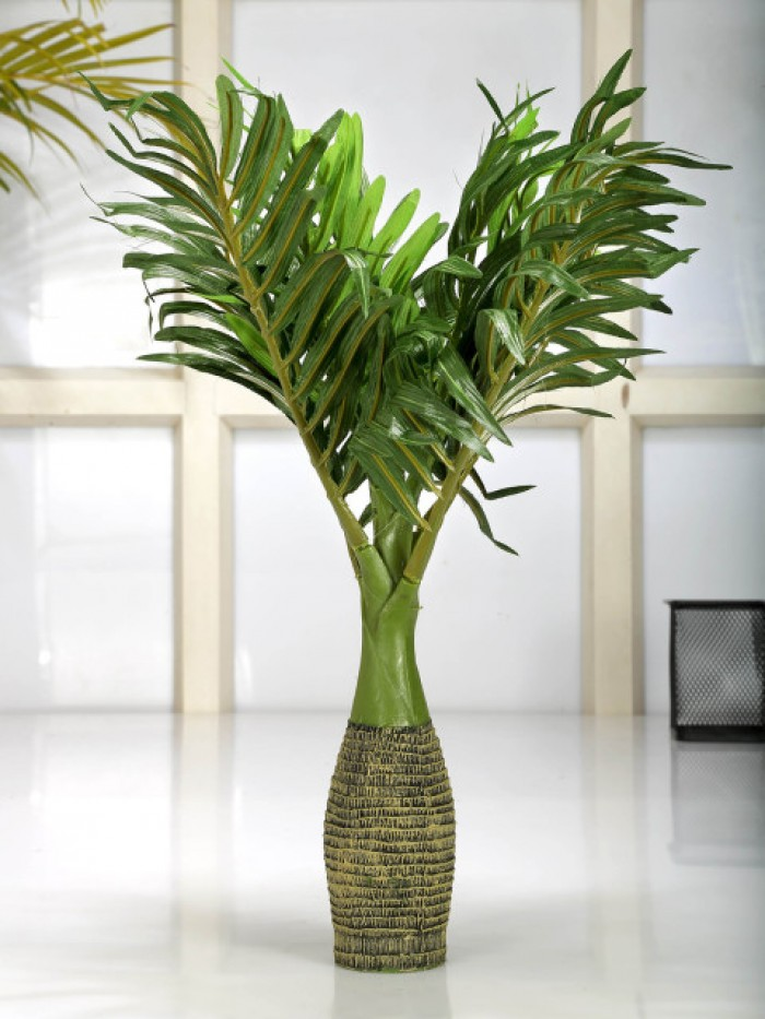 Buy Fourwalls Synthetic Artificial Bonsai Palm Plant (8 Branches, Green, 35 Cm ) Online