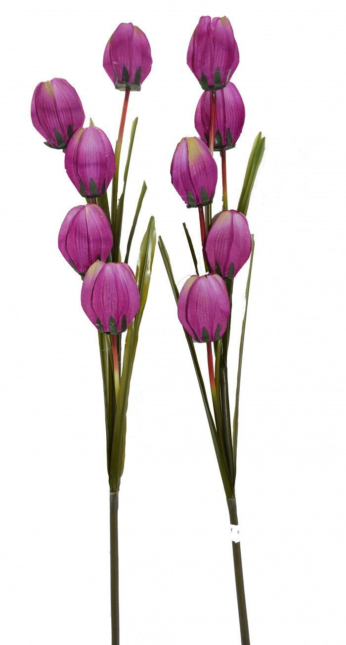 Buy Fourwalls Artificial Synthetic Tulip Flower Stick-S2 (5 Flowers,Purple) Online