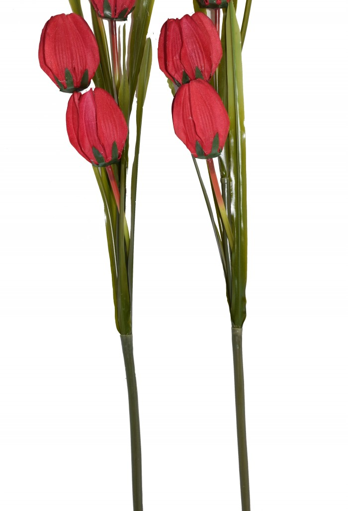 Buy Fourwalls Artificial Synthetic Tulip Flower Stick-S2 (5 Flowers,Red) Online