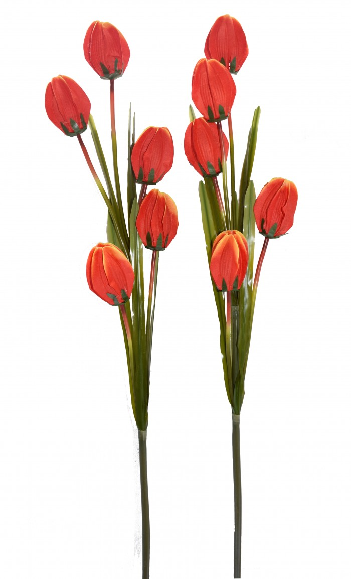 Buy Fourwalls Artificial Synthetic Tulip Flower Stick-S2 (5 Flowers,Orange) Online