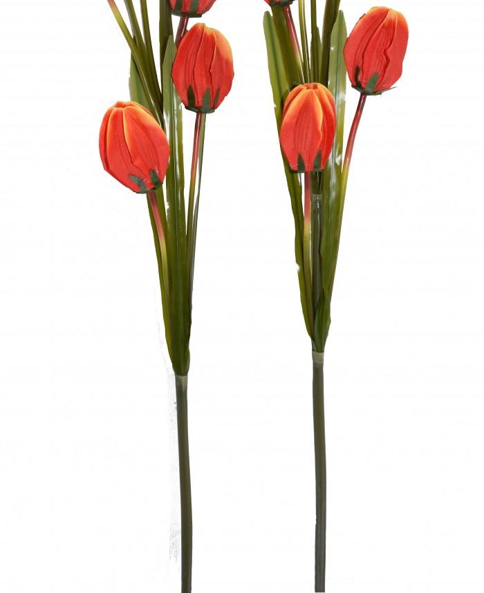 Buy Fourwalls Artificial Synthetic Tulip Flower Stick-S2 (5 Flowers,Orange) Online