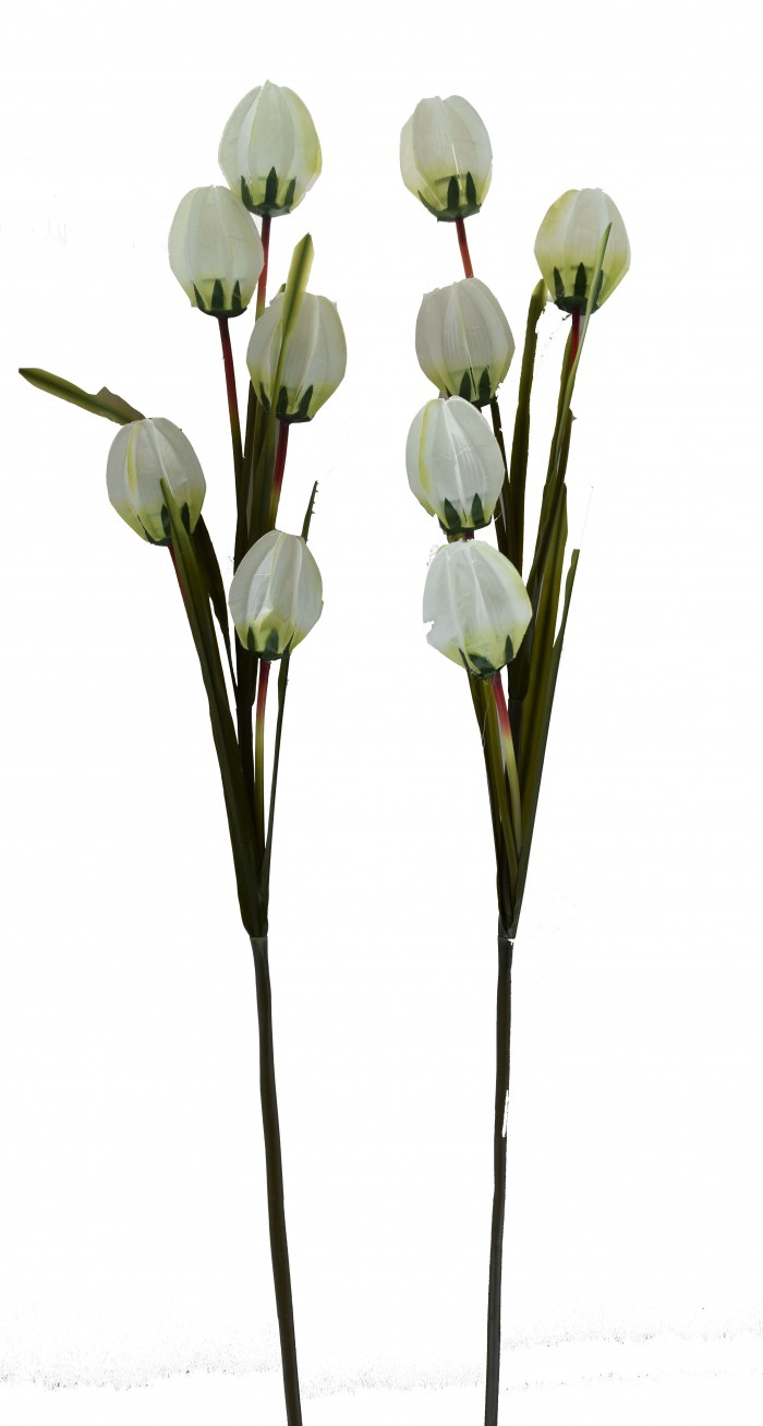 Buy Fourwalls Artificial Synthetic Tulip Flower Stick-S2 (5 Flowers,White) Online