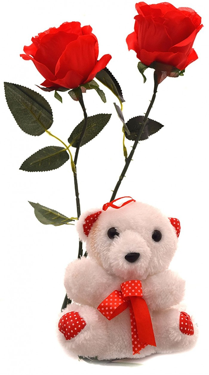 Buy Fourwalls Valentine Special Synthetic Teddy Bear With 2 Roses (Red, Set Of 3) Online