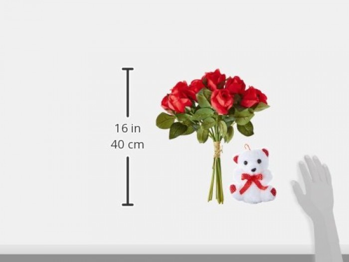 Buy Fourwalls Artificial Red Rose Bunch And A Teddy Bear Online