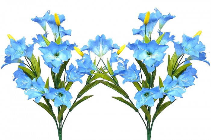 Buy Fourwalls Synthetic Lily Flower Bunch (21 Flowers, Set Of 2, Blue) Online