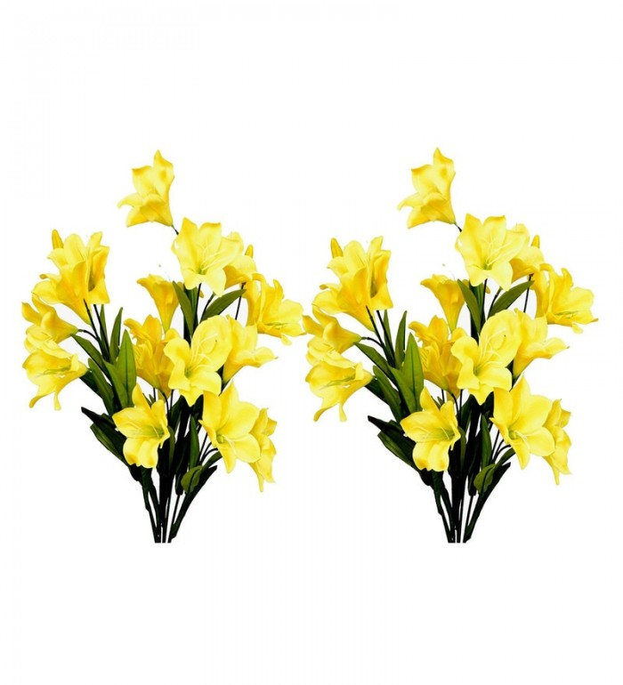 Buy Fourwalls Synthetic Lily Flower Bunch (21 Flowers, Set Of 2, Yellow) Online