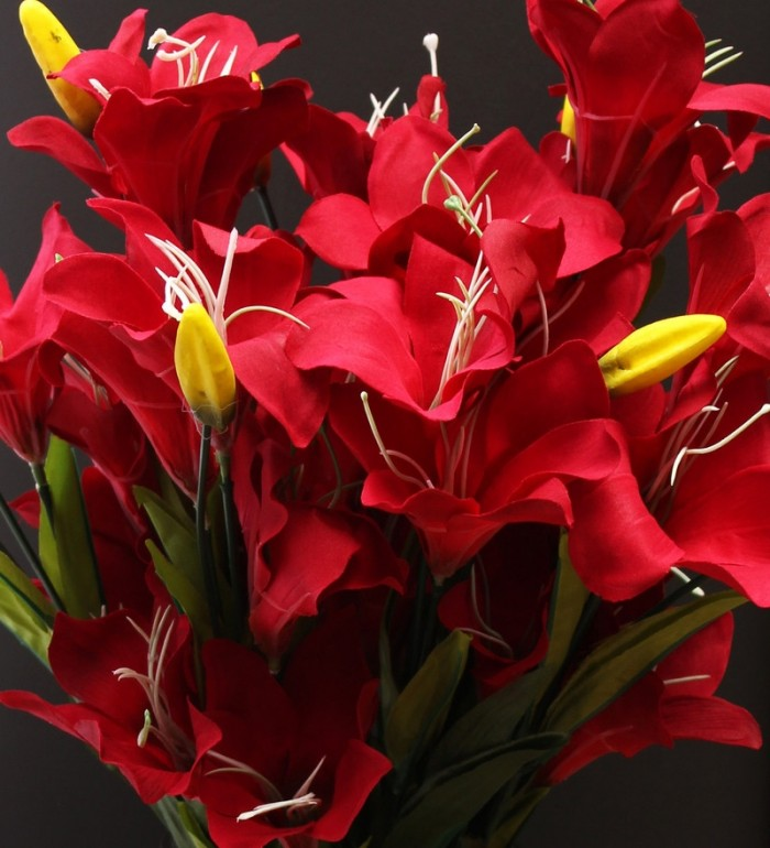 Buy Fourwalls Synthetic Lily Flower Bunch (21 Flowers, Set Of 2, Red) Online