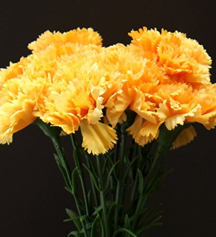 Buy Artificial Single Carnation Stems (Set Of 15, Yellow) Online