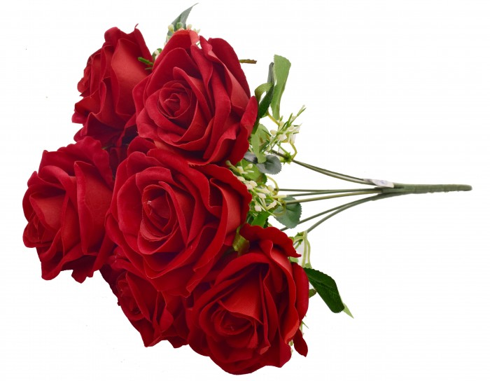 Buy Fourwalls Large Blooming Artificial Velvet Rose Bouquet (45 Cm, Red, 7 Branches) Online