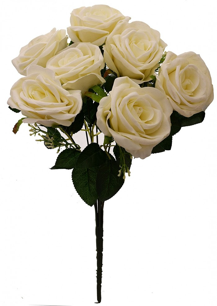 Buy Fourwalls Large Blooming Artificial Velvet Rose Bouquet (45 Cm, White, 7 Branches) Online