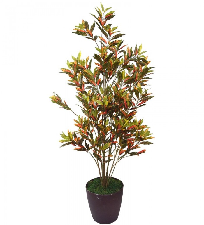 Buy Artificial Croton PlantMulticolor Polyester 760 Leaves Artificial Croton Floor Plant By Fourwall