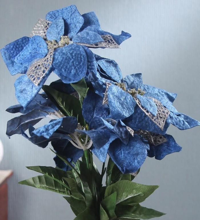 Buy Fourwalls Artificial Fabric Poinsettia Christmas Flower Bouquet (50 Cm, Blue) Online